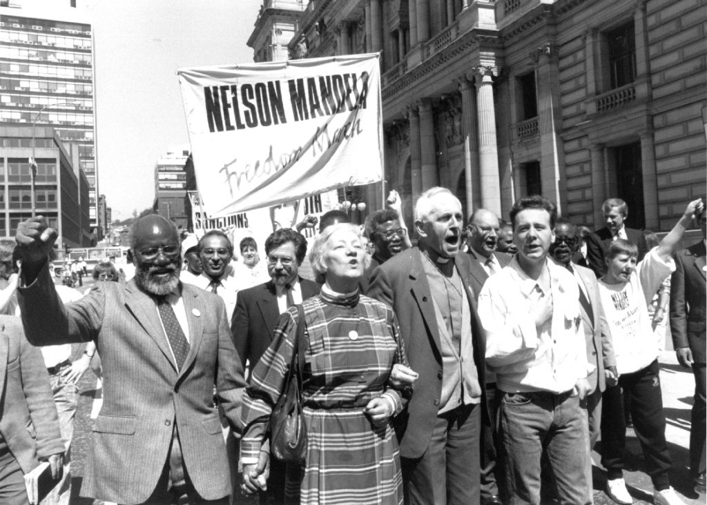 Anti-Apartheid freedom march in Glasgow, Scotland, 1988.