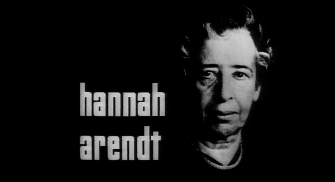 A film still of Hannah Arendt.