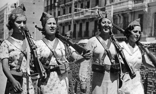 Anti-fascist militiawomen in Spain, c. 1937.
